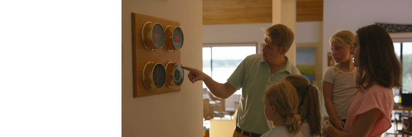 The Larsen Family using a Maximum preconfigured weather station in their home