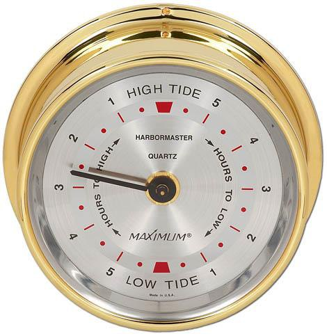Maximum Harbormaster East Coast Tide Clock in Brass